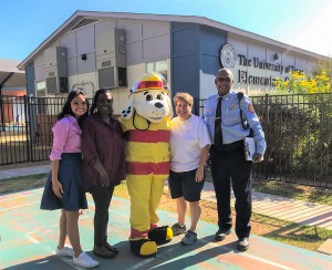 UT Elementary School staff with Sparky the Fire Dog and FPS Fire Safety Specialist Roosevelt Easley at right on Safety Day
