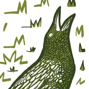 Grackle bird in graphic woodcut style