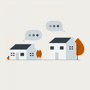 Homes with speech bubbles implying digital communication