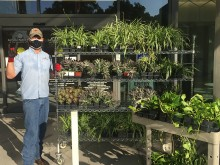 Landscape Services' Dell Medical School Supervisor Justin Hayes helps ready plants for donation.