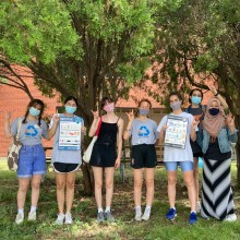 Resource Recovery interns Devia Joshi, Gabrielle Lopez, Melanie Albrecht, Sylvia Asuncion-Crabb, Naomi Hagy, Eeshana Hamed and Lauren Smith were responsible for rolling out signage across campus in summer 2021.