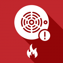 Fire Prevention illustrated icon with smoke detector and fire pictured