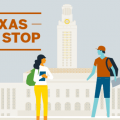 Texas One Stop graphic showing UT Tower and students