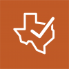 Texas outline with checkmark graphic