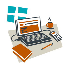 Illustrated graphic showing computer, notebook, pen, and warm beverage